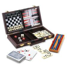 6-In-1 Travel Game Set Chess, Checkers, Backgammon, Cribbage, Dominoes & Playing