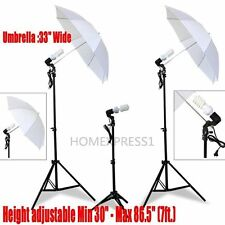 NEW Studio Photography Lighting Kit 3 Point Lighting Umbrella Photo Bulb Lamp
