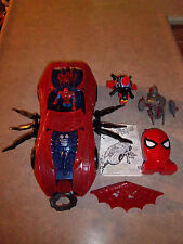 Lot of Spider-Man - 1997 Spider Force Web Car w/Spider-man & Compact Lair Case