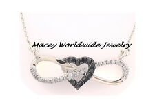 10K WHITE GOLD TWILIGHT BLACK DIAMOND SPARKLING INFINITY HEART PENDANT NECKLACE