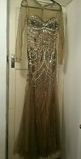 Mermaid ball gown gatsby evening beige mesh nude gold sequin crystal dress 8 10