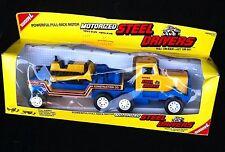 1987 TOY BUDDY L MOTORIZED STEEL DRIVERS SEMI TRUCK WITH BULLDOZER PULL 'EM BACK