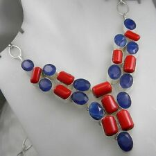 GENUINE HANDCRAFTED SAPPHIRE & RED CORAL SILVER NECKLACE 18""