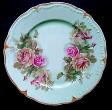 Vintage Porzellan Imperial Germany Plate Green W/ Pink Roses Shabby Chic