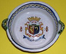 Faïence antique tin glazed twin manipulés pin dish-france c1860-st jean de luz