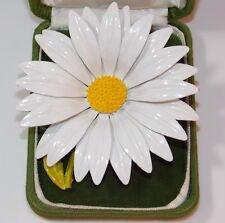 Vintage Huge Daisy Flower White Enamel Brooch Pin 4b 75