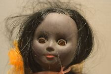 Vintage Dark Black Hard Plastic Doll, Long Hair, Made In England, 14 Inches