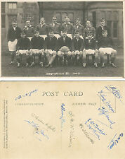 Christ College XV, Brecon, Wales 1932-33 vintage rugby postcard + 12 autographs