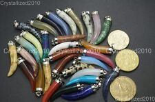 Natural Gemstones Horn Tusk Tooth Spike Pendant Earrings Necklace Charm Beads