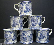 Set Of 6 Laura Blue English Fine Bone China Chintz Mugs Cups By Milton China