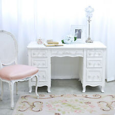 Shabby Cottage Chic 6 Drawer Writing Desk French Vintage Style White Roses
