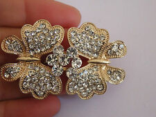 large diamante buckle clasp fastener button rhinestone pearl gold 62mm butterfly