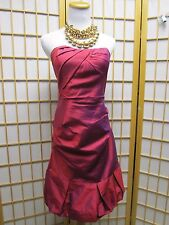Nicole Miller Collection Cranberry Lined 100% Silk Strapless Dress  4 EUC $410
