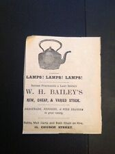 H8-1 Ephemera 1896 Advert Falmouth W H Bailey Lamps Baths For Hire