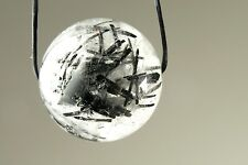 Translucent Black Tourmaline in Quartz Large Round Bead - 16mm- one bead - 3718A