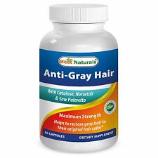 Best Naturals Anti Gray Hair 60 Caps restore natural color unisex  expire 2018