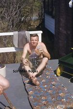 KODAK Blue Border 35mm Slide Man Beer Moonshine On Porch Gay Interest 1950s?