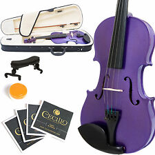 MENDINI SIZE 3/4 SOLIDWOOD VIOLIN METALLIC PURPLE +TUNER+SHOULDERREST+BOW+CASE