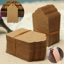 100Pcs Blank Brown Kraft Paper Hang Tags Wedding Favor Label Gift Cards Making