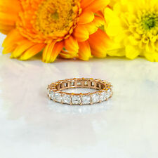 2.65 CT 18K Rose Gold Asscher Cut Diamond Eternity Band Engagement Ring F VS1