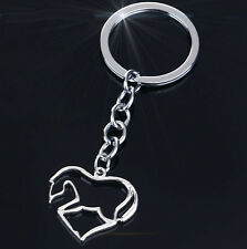 HORSE & WESTERN GIFTS ACCESSORIES HEART HORSE KEY CHAIN KEY RING SILVER