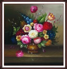 Flower Vase Oil Painting Cross Stitch kit - Printed Canvas Large Size 59X59