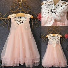 Flower Girl Princess Dress Baby Party Wedding Lace Tulle Tutu Dresses 5-6Y