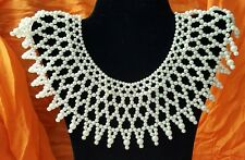 "Vintage Faux Pearl Necklace Collar Bib Approx. 17"" inner dia"