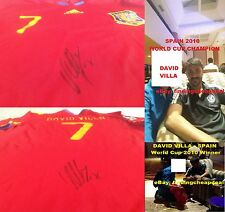 DAVID VILLA SIGNED SPAIN WORLD CUP 2010 ADIDAS JERSEY SHIRT AUTO NYCFC BARCELONA