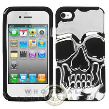 Apple iPhone 4/i4S Hybrid Skullcap Cover Silver Plating/Black Cover Shell Case