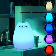 7 Color Kitty LED Children Night Light Kids Nursery Lamp Sensitive Tap Control