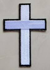 White Cross Embroidered Iron on Patch Free Postage