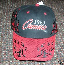 CH11 1969 69 GM CHEVY CAMARO SS MUSCLE CAR GARAGE BALL CAP HAT BLACK WITH RED