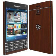 Skinomi Dark Wood Skin+Clear Screen Protector for Blackberry Passport