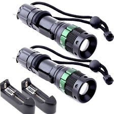 2X 2200 Lumen Zoomable CREE XM-L T6 LED Flashlight Torch Zoom Lamp Light Charger