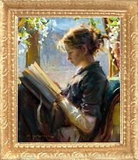 PORTRAIT OF A GIRL READING Dollhouse Picture - Framed Miniature Art -MADE IN USA