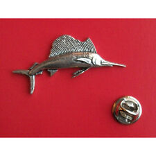 English Pewter  Fish Fishing SAILFISH Marlin Pin Badge Tie Pin / Lapel Badge F13