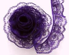 PURPLE~3 Inch Wide Ruffled Floral Lace Trim~By 5 Yards