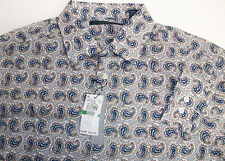 NWT Perry Ellis Long Sleeve 100% Cotton Shirt $79 Floral Paisley Geom. 3 Colors