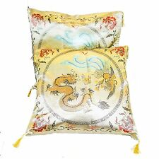 "Pair of Oriental Chinese Silk Cushion Covers 16"" x 16'' Gold Dragon Design New"