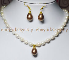 "7-9mm White Akoya Cultured Pearl & Shell Pearl Pendant Necklace 18"" Earrings AAA"