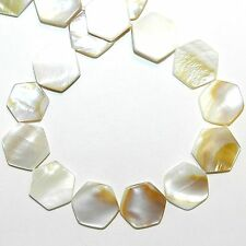 MP733f Natural White 15mm Flat Hexagon Mother of Pearl Gemstone Shell Beads 16""