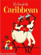 Fly to the Caribbean Islands by Airplane Vintage Travel Advertisement Poster