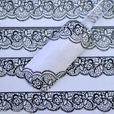 2 SHEETS  Nail Art Lace Stickers Decals Transfers BLACK Lace Design Nail Art NEW