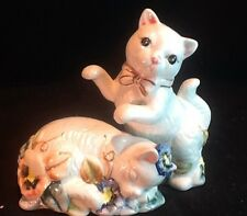 Cats Kittens Salt & Pepper Shakers Set Floral Violets 5""