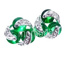 round coin bean flower green emerald cz studs earrings crystal-white gold plate