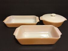 4-pcs Fire King Anchor Hocking Peach Lustre Covered Bowl Baker Loaf Dish E91315