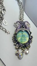 KIRKS FOLLY MALEFICENT SEAVIEW MOON GREEN AB MOON CHAIN NECKLACE SILVER TONE
