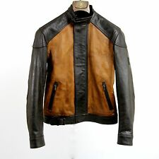 $1595 NEW BELSTAFF Leather Bomber Biker Jacket Brown 42 Medium M