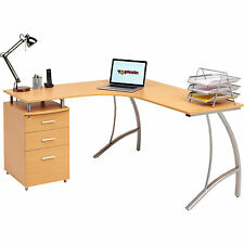 Home Office Corner Laptop Table w Drawers Piranha Furniture Beech Effect PC 28b